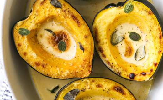 Roasted Acorn Squash with Sage-Cream Sauce