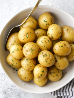 buttery boiled potatoes in a serving bow