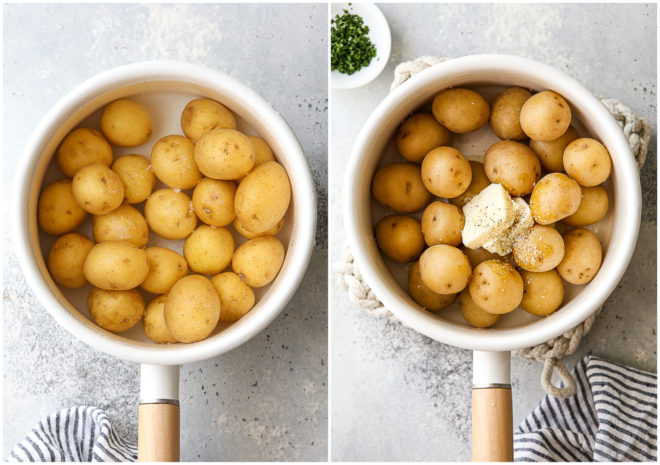 boiling mini potatoes, then adding butter and seasonins