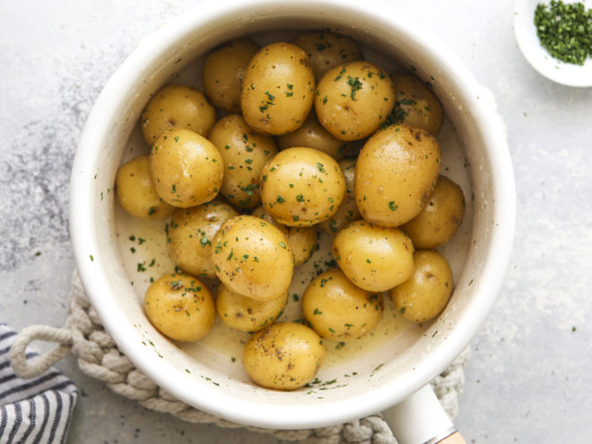 buttery boiled potatoes in pot