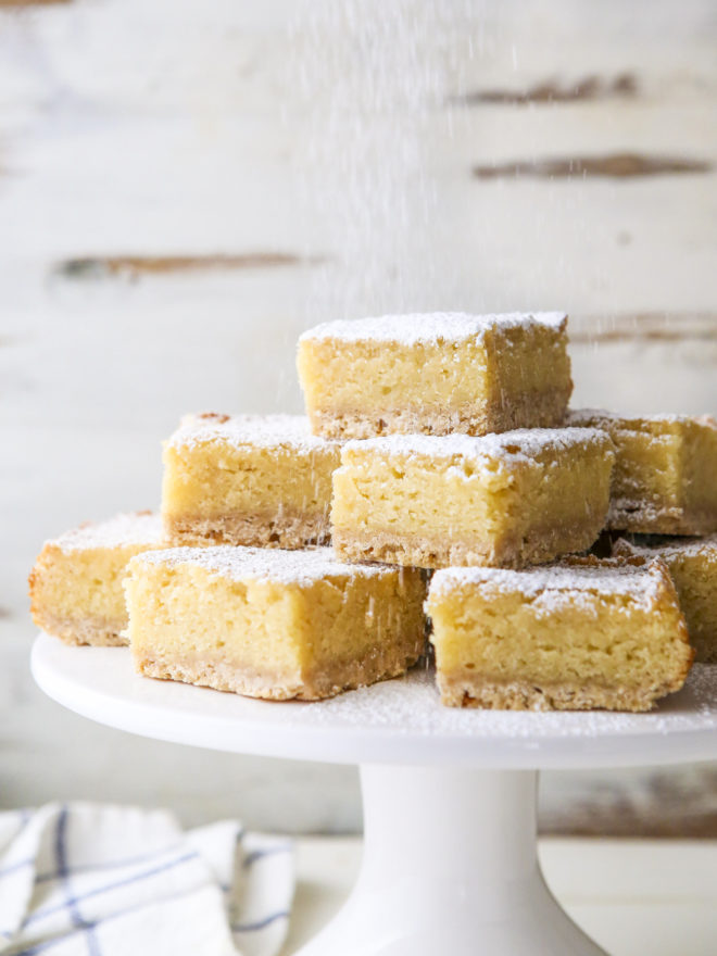 a stack of maple butter bars on a platter