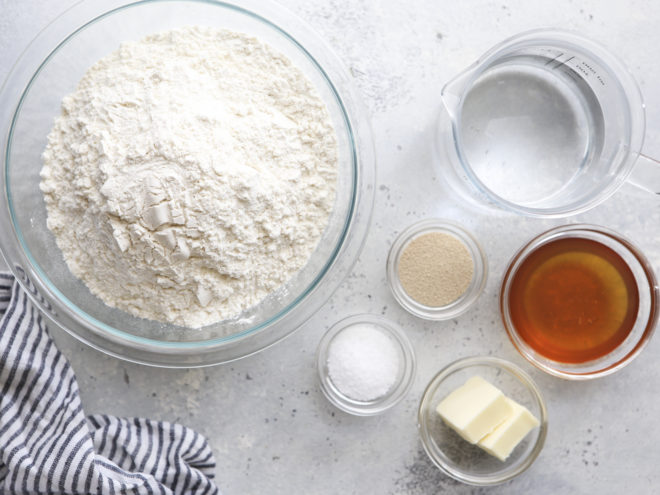 Ingredients for soft white sandwich bread