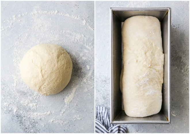 shaping bread into a loaf, putting it in a pan
