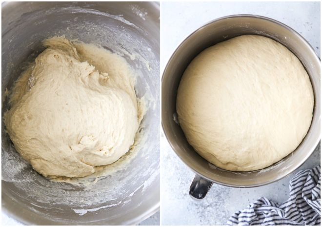 bread dough before and after rising