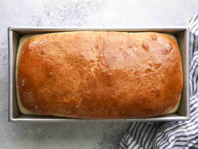 soft white sandwich bread in a bread pan