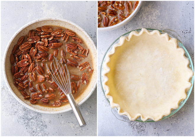 pie crust shell and pecan pie mixture in bowl