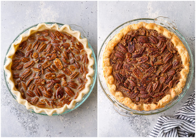 pecan pie, before and after baking