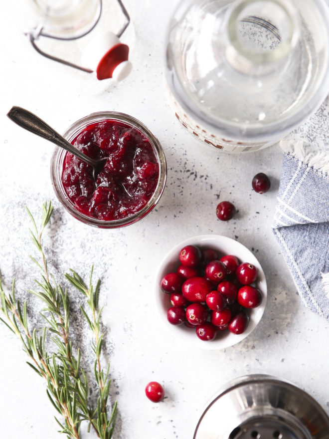 cranberry sauce, gin, sparkling water for cocktails
