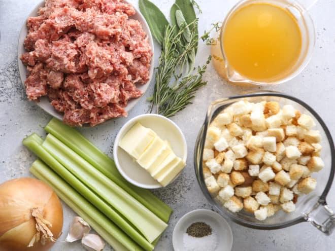 ingredients for skillet stovetop sausage stuffing