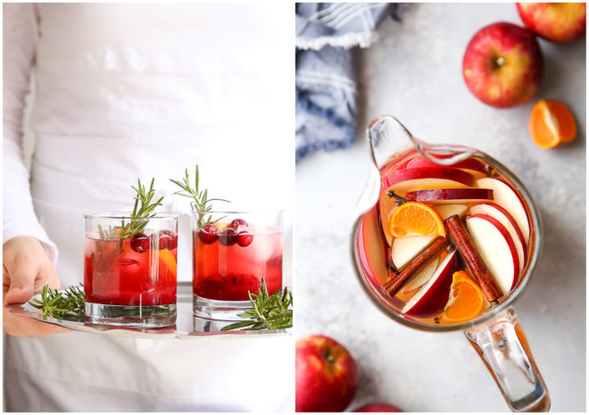 cranberry gin fizz and spiced apple cider sangria