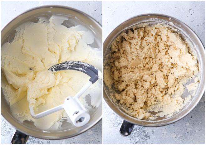 shortbread cookie dough in mixer bowl