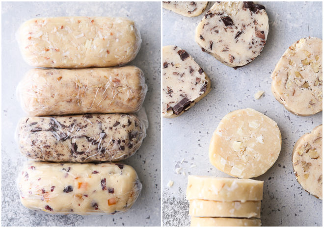 shortbread cookie dough logs, sliced rounds