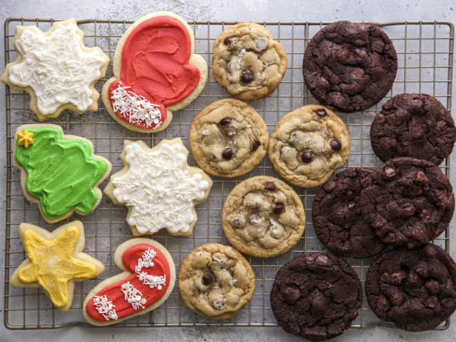 frosted sugar cookies, chocolate chip cookies, chocolate chocolate chunk cookies