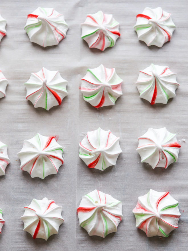 peppermint meringues on a sheet pan