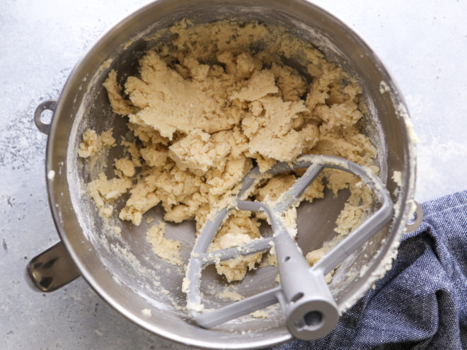 sugar cookie dough in mixer bowl