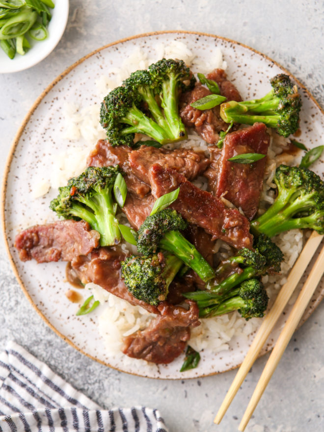 plated beef and broccoli stir fry