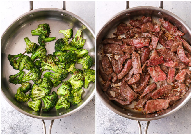 stir frying beef and broccoli