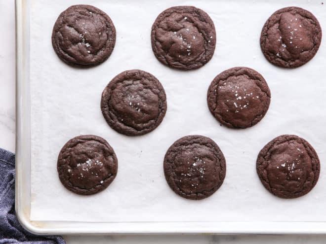 baked chocolate cookies on sheet pan