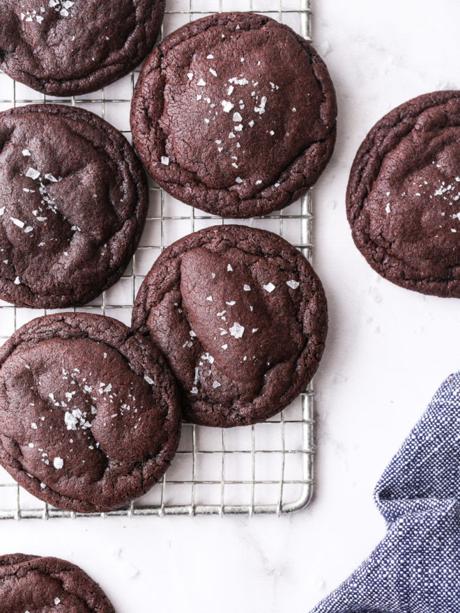 chewy chocolate cookies on wire rack