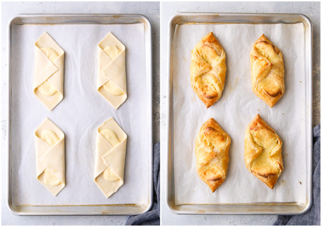 cream cheese danishes, before and after baking