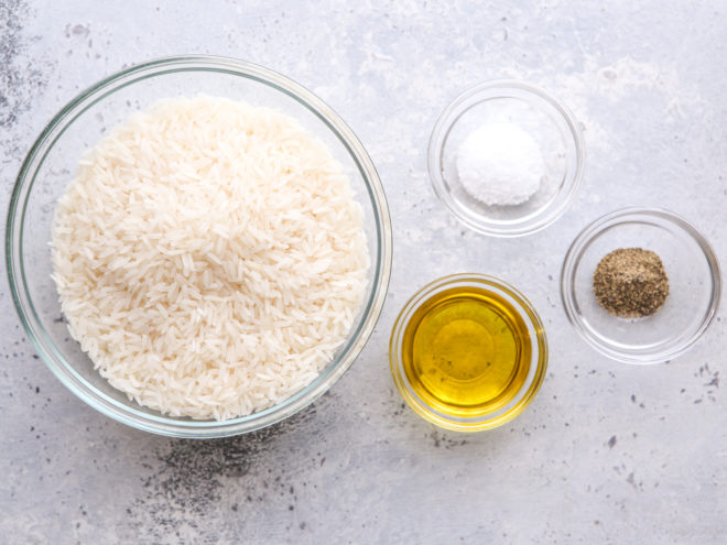 ingredients for perfect steamed rice