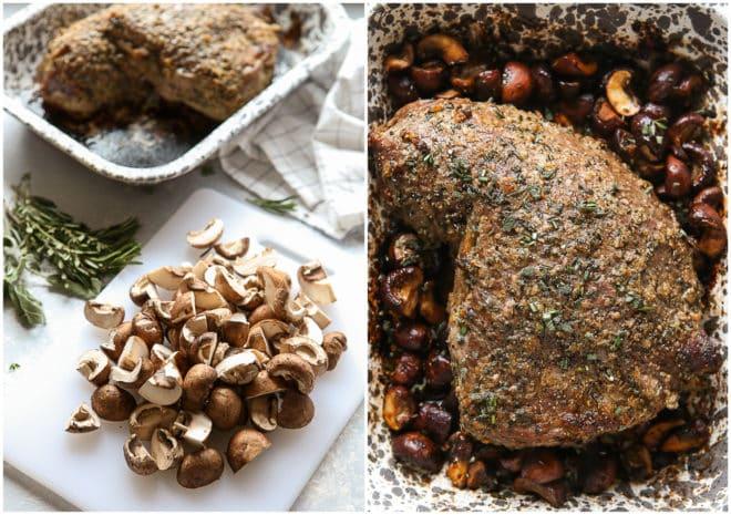 slicing mushrooms and roasted tri-tip roast