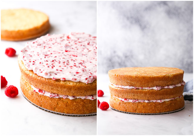 assembling raspberry white chocolate layer cake