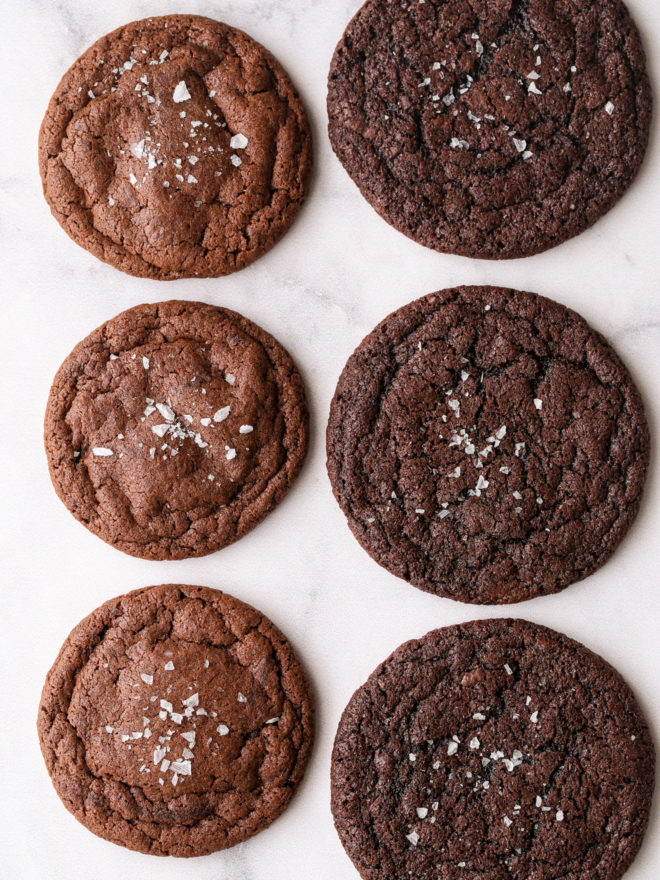 Chocolate cookies side-by-side, using natural cocoa and dutch process cocoa