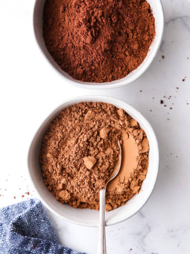 unsweetened cocoa powder and dutch process cocoa powder in bowls