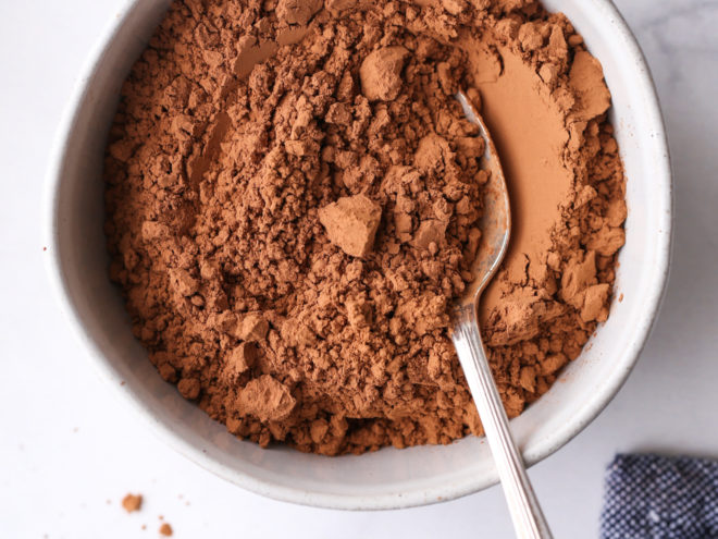 unsweetened cocoa powder in a bowl