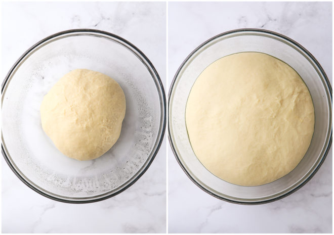 doughnut dough, before and after rising