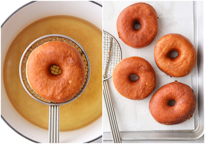 frying yeast-raised doughnuts