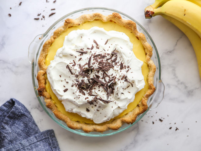 finished chocolate bottom banana cream pie