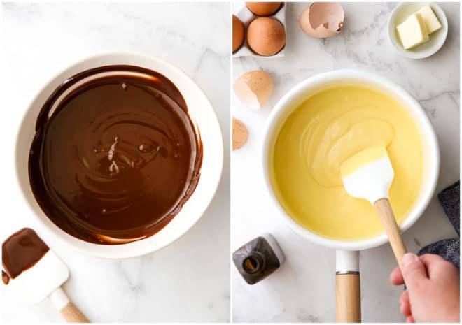 chocolate ganache and vanilla pudding for banana cream pie