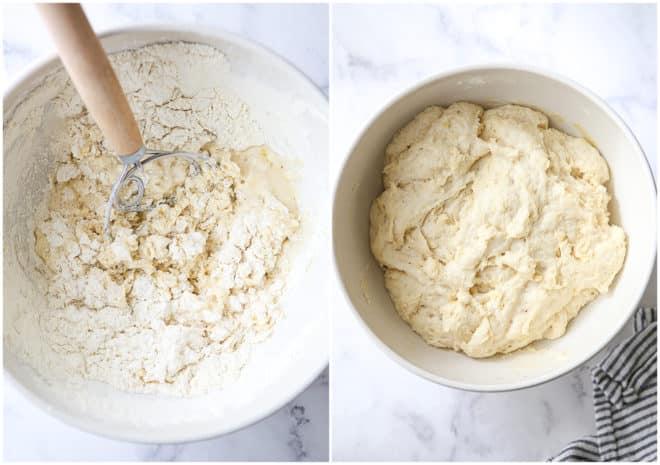 mixing pizza dough and risen dough