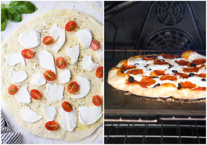 pizza with cheese and tomatoes and pizza in oven