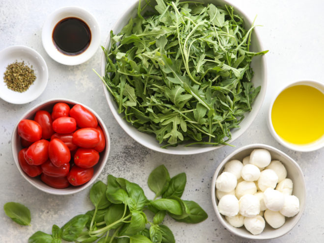 ingredients for arugula caprese salad