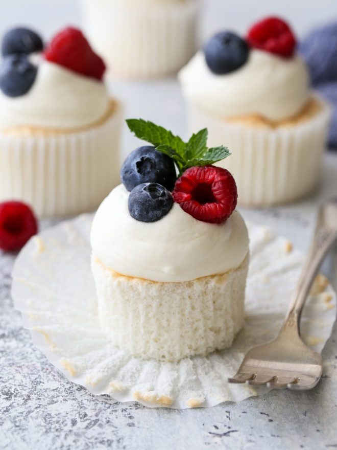 angel food cupcakes with fork