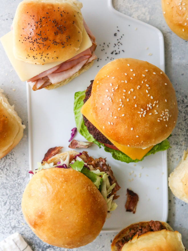 overhead sandwiches, sliders and burgers on different buns