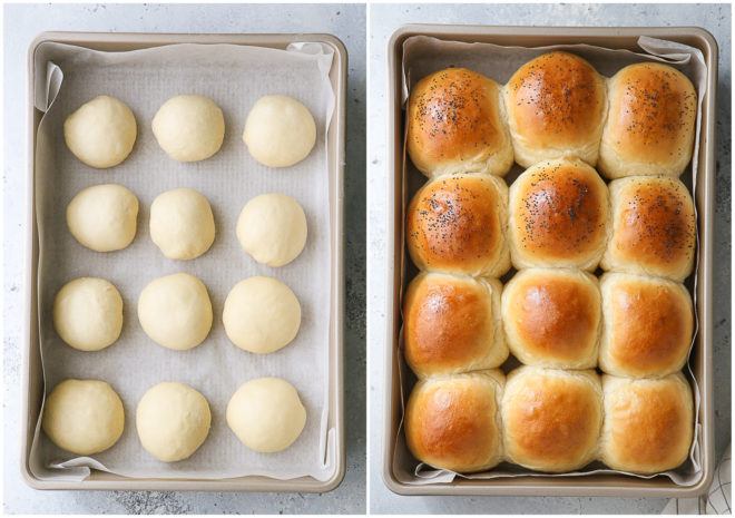 slider buns before and after baking