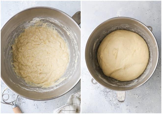 making sandwich buns dough