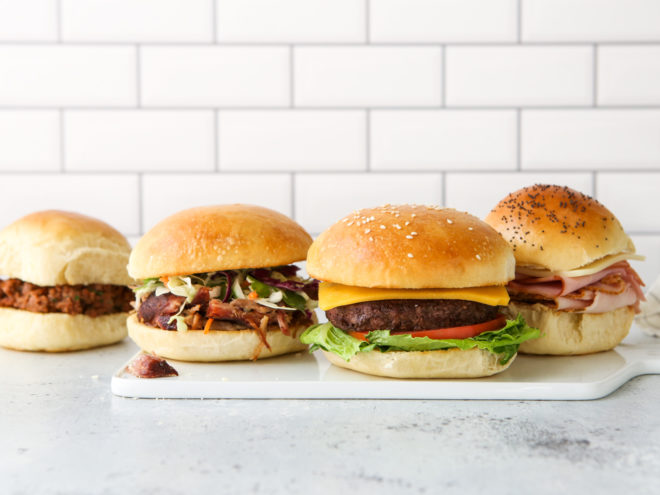 sandwiches, sliders and burgers on different buns