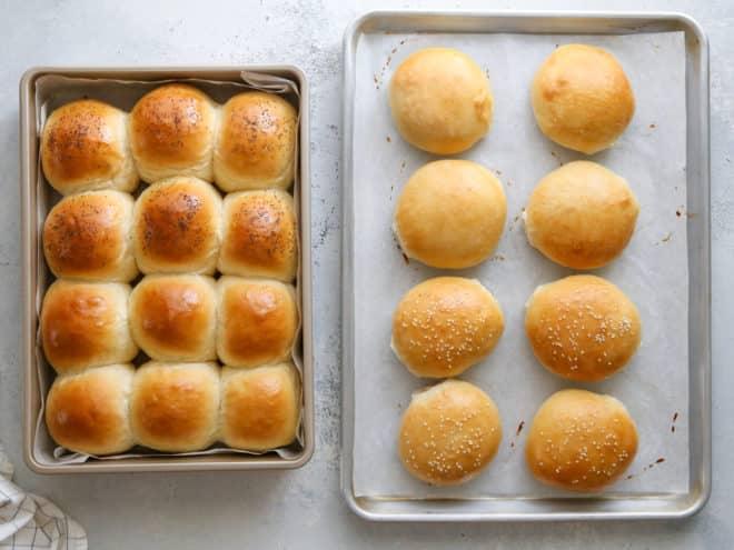 baked slider rolls and burger buns