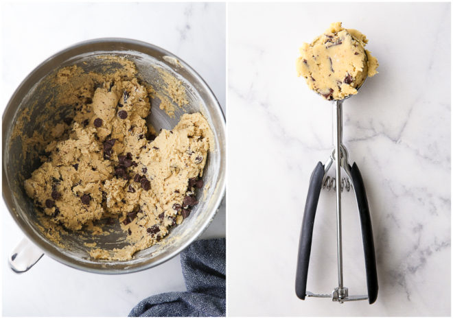 bowl of chocolate chip cookie dough, and a scoop full