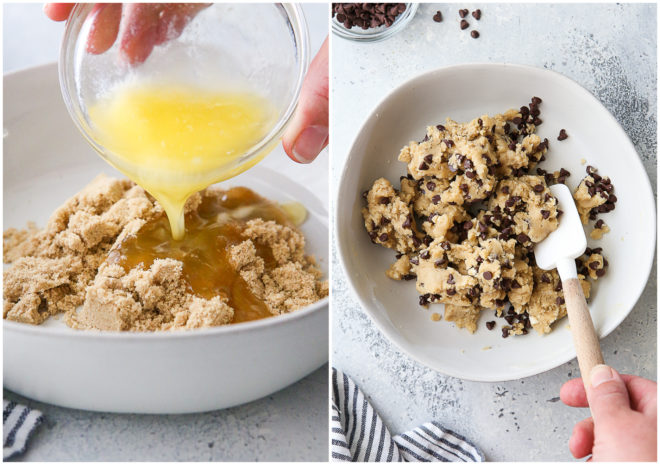 mixing butter and brown sugar, and mixed cookie dough
