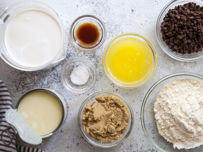 ingredients for no-churn chocolate chip cookie dough ice cream