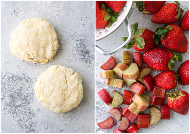 pie crust, and sliced strawberries and rhubarb
