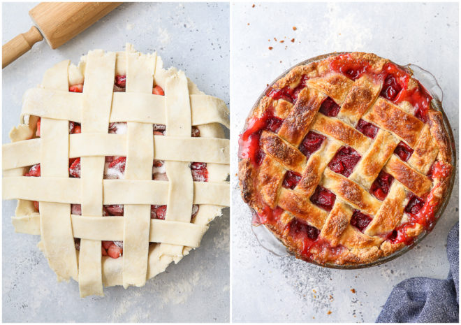 strawberry rhubarb pie before and after baking