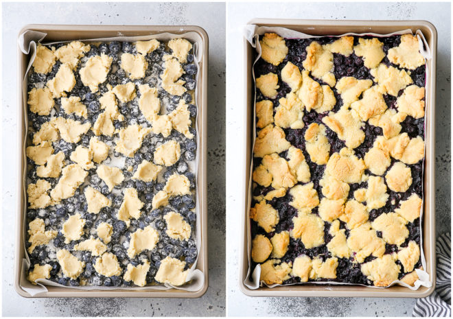 blueberry pie bars before and after baking