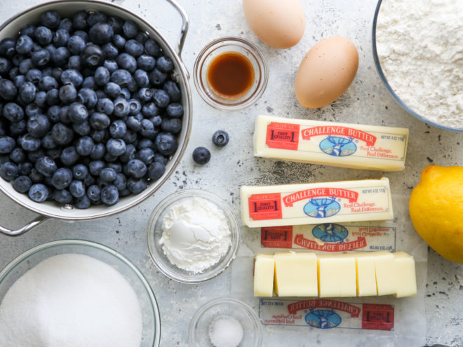 ingredients for blueberry pie bars